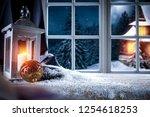 winter windows in a christmas...   Shutterstock . vector #1254618253