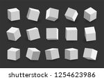 white 3d cubes pack isolated on ...   Shutterstock . vector #1254623986