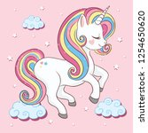 cute unicorn vector... | Shutterstock .eps vector #1254650620