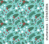 seamless pattern with berries ...   Shutterstock .eps vector #1254653806