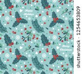 seamless pattern with berries ...   Shutterstock .eps vector #1254653809