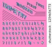 pixel isometric font. 8 bit... | Shutterstock .eps vector #1254656773