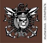 skull captain. vintage style... | Shutterstock .eps vector #1254693676