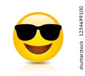 cool smiling emoji with... | Shutterstock .eps vector #1254699100