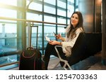 air travel concept. young... | Shutterstock . vector #1254703363
