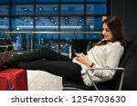 air travel concept. young... | Shutterstock . vector #1254703630