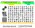 vector icons pack of 120 filled ... | Shutterstock .eps vector #1254707449