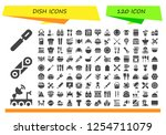 vector icons pack of 120 filled ... | Shutterstock .eps vector #1254711079