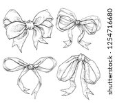 bows and ribbons hand drawn set.... | Shutterstock .eps vector #1254716680