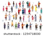 set of people wearing top... | Shutterstock .eps vector #1254718030