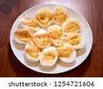 deviled eggs with turmeric... | Shutterstock . vector #1254721606