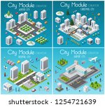 isometric set module city with... | Shutterstock .eps vector #1254721639