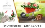 realistic gardening colorful... | Shutterstock .eps vector #1254727756