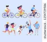 colorful people ride bicycles | Shutterstock .eps vector #1254729586