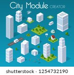 isometric set module city with... | Shutterstock .eps vector #1254732190