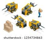 isometric vector forklift truck ... | Shutterstock .eps vector #1254734863