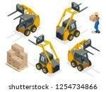 isometric vector forklift truck ... | Shutterstock .eps vector #1254734866