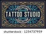 vintage template with floral... | Shutterstock .eps vector #1254737959
