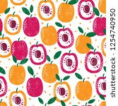 seamless pattern with fruits.... | Shutterstock .eps vector #1254740950