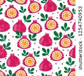 seamless pattern with fruits....   Shutterstock .eps vector #1254740953