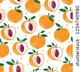 seamless pattern with fruits.... | Shutterstock .eps vector #1254740980