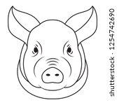 pig head isolated on white... | Shutterstock .eps vector #1254742690
