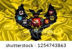 russia empire czar flag on silk ... | Shutterstock . vector #1254743863