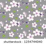 sakura flowers. cherry blossom... | Shutterstock .eps vector #1254744040