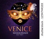 venice carnival design template ... | Shutterstock .eps vector #1254744103