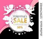 valentine's day sale. cute... | Shutterstock .eps vector #1254744433