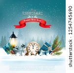christmas background with a... | Shutterstock .eps vector #1254745690