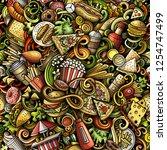 fastfood hand drawn doodles... | Shutterstock .eps vector #1254747499