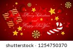 merry christmas and happy new... | Shutterstock .eps vector #1254750370