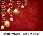christmas baubles and golden...   Shutterstock .eps vector #1254751930