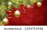 christmas baubles and golden...   Shutterstock .eps vector #1254751936