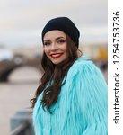 beutiful stylish girl wearing... | Shutterstock . vector #1254753736