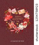 cute poster  valentines day... | Shutterstock .eps vector #1254758923