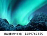 aurora borealis above the snow... | Shutterstock . vector #1254761530