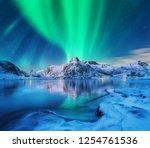 aurora borealis over snowy... | Shutterstock . vector #1254761536
