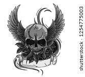 skull symbol tattoo design... | Shutterstock .eps vector #1254775003