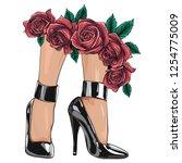 vector girls in high heels.... | Shutterstock .eps vector #1254775009