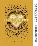 fashion leopard slogan graphic... | Shutterstock .eps vector #1254776110