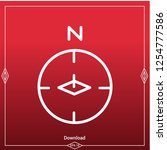 compass icon on red background. ...