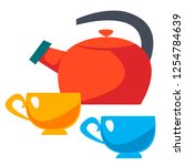teapot and two cups. vector... | Shutterstock .eps vector #1254784639