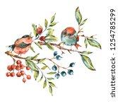 cute watercolor natural floral...   Shutterstock . vector #1254785299