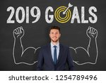 new year 2019 goals on... | Shutterstock . vector #1254789496