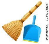 set of realistic broom and blue ... | Shutterstock .eps vector #1254795826