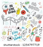 set of cute doodles background | Shutterstock . vector #1254797719