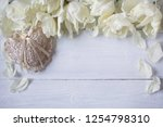 bright tulips and lacy heart on ... | Shutterstock . vector #1254798310