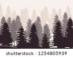 pine tree forest silhouette... | Shutterstock . vector #1254805939
